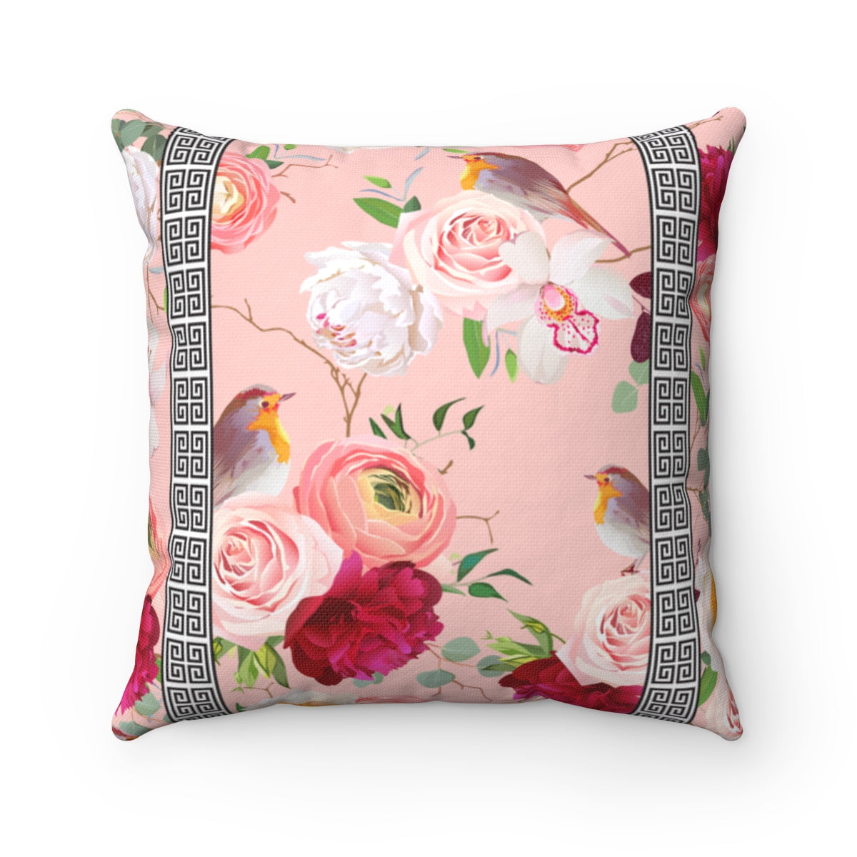 Greek Key Florals & Birds on Blush Pink Background: Throw Pillow Cover
