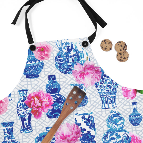 blue and white ginger jar pink peonies chinoiserie kitchen cooking apron