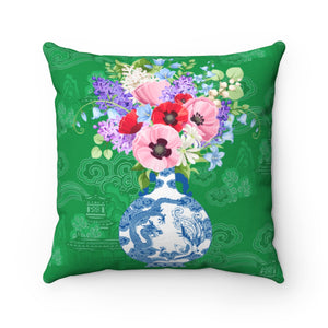 Green, blue and white ginger jar with florals throw pillow cover for home decor cushions
