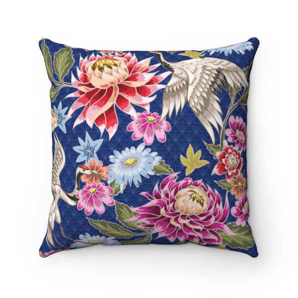REVERSIBLE: Navy & White Birds & Blooms Throw Pillow Cover