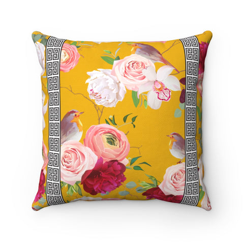 Greek Key Florals & Birds on Mustard Yellow Background: Throw Pillow Cover