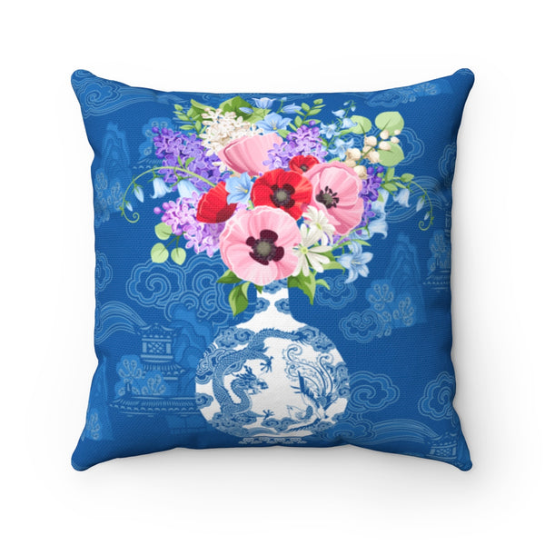 Blue and white ginger jar with florals throw pillow cover for home decor cushions