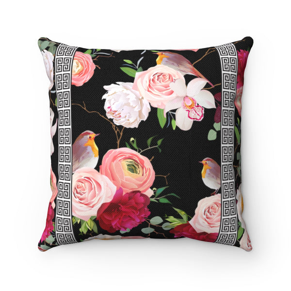Greek Key Florals & Birds on Black Background: Throw Pillow Cover