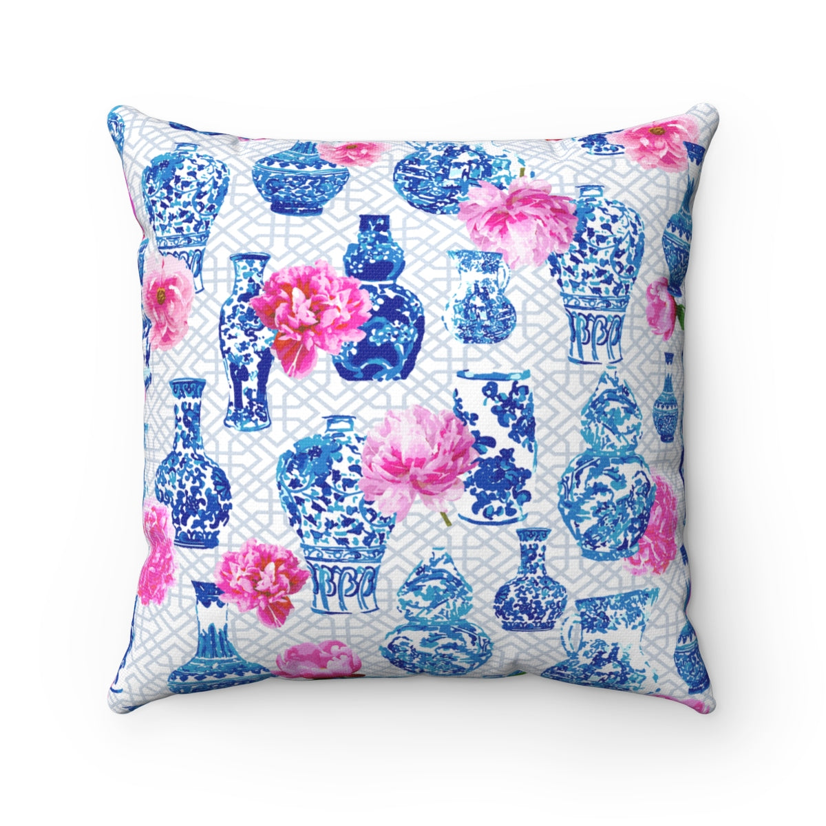 Blue and white ginger jar throw pillow cover with pink peonies chinoiserie chic
