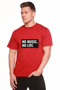 No Music No Life Printed Men's Bamboo Viscose/Organic Cotton Short Sleeve T-Shirt