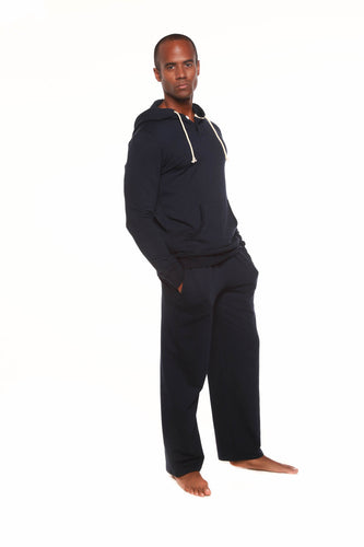 Men's Henley Style Bamboo Viscose Fleece Hoodie + Fleece Lounge Pants
