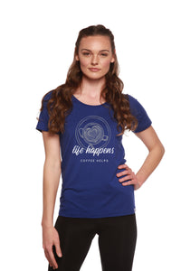 Life Happens Printed Women's Bamboo/Cotton Short Sleeve Scoop Neck T-Shirt - Spun Bamboo