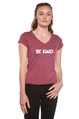 Be Kind Printed Women's Bamboo Viscose/Cotton V-Neck Cap Sleeve T-Shirt - Spun Bamboo