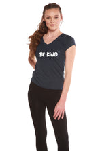 Load image into Gallery viewer, Be Kind Printed Women's Bamboo Viscose/Cotton V-Neck Cap Sleeve T-Shirt - Spun Bamboo