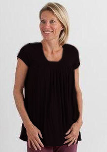 Women's Bamboo Viscose Pleated Lounge Top Black