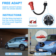 Load image into Gallery viewer, EVFUEL - Type 2 EV Charger | 16A | 3-Phase CEE Plug | 380V | 11KW | 5 Meters | Portable