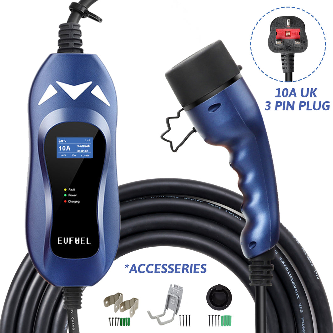 EVFUEL - Type 2 EV Charger | 10A | UK 3 pin Plug | 250V | 2.4KW | 5 Meters | Portable