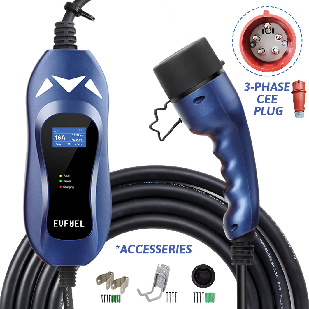 EVFUEL - Type 2 EV Charger | 16A | 3-Phase CEE Plug | 380V | 11KW | 5 Meters | Portable