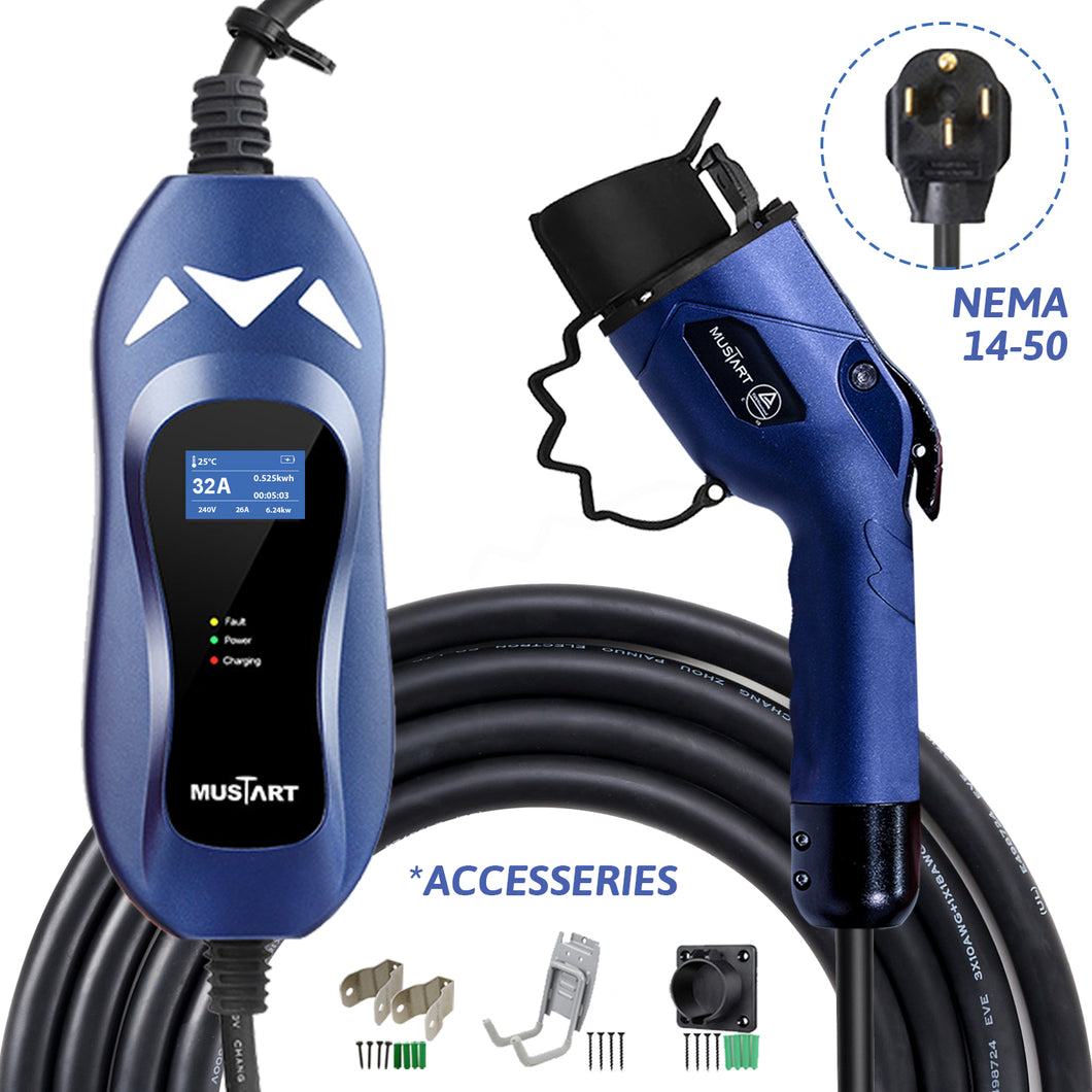 MUSTART - Level 2 EV Charger | 32A | NEMA 14-50 | 240V | 7.68KW | 25FT | Portable | Outdoor Use