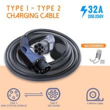 Load image into Gallery viewer, EVFUEL - Type 2 EV Charging Cable | 32A | Type 1 to Type 2 | MAX 32 Amp | 250V | 4KW/8KW | 5 Meters | Portable