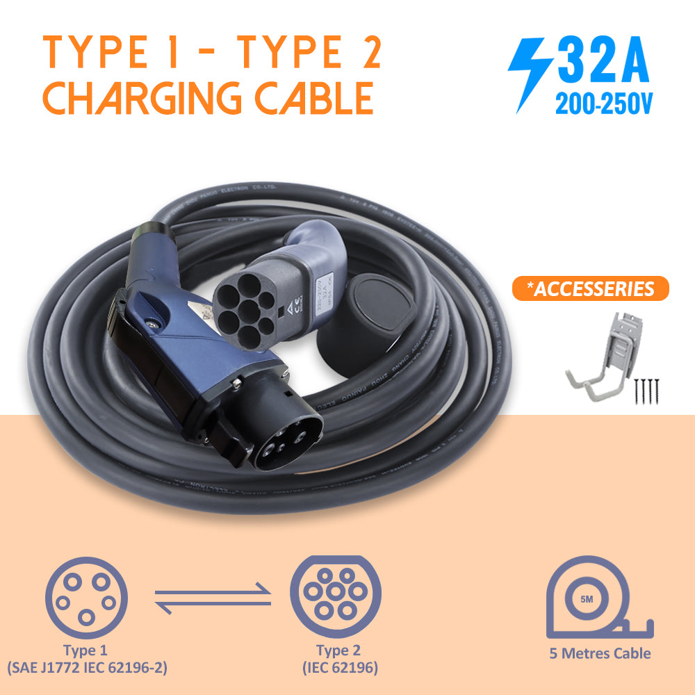 EVFUEL - Type 2 EV Charging Cable | 32A | Type 1 to Type 2 | MAX 32 Amp | 250V | 4KW/8KW | 5 Meters | Portable