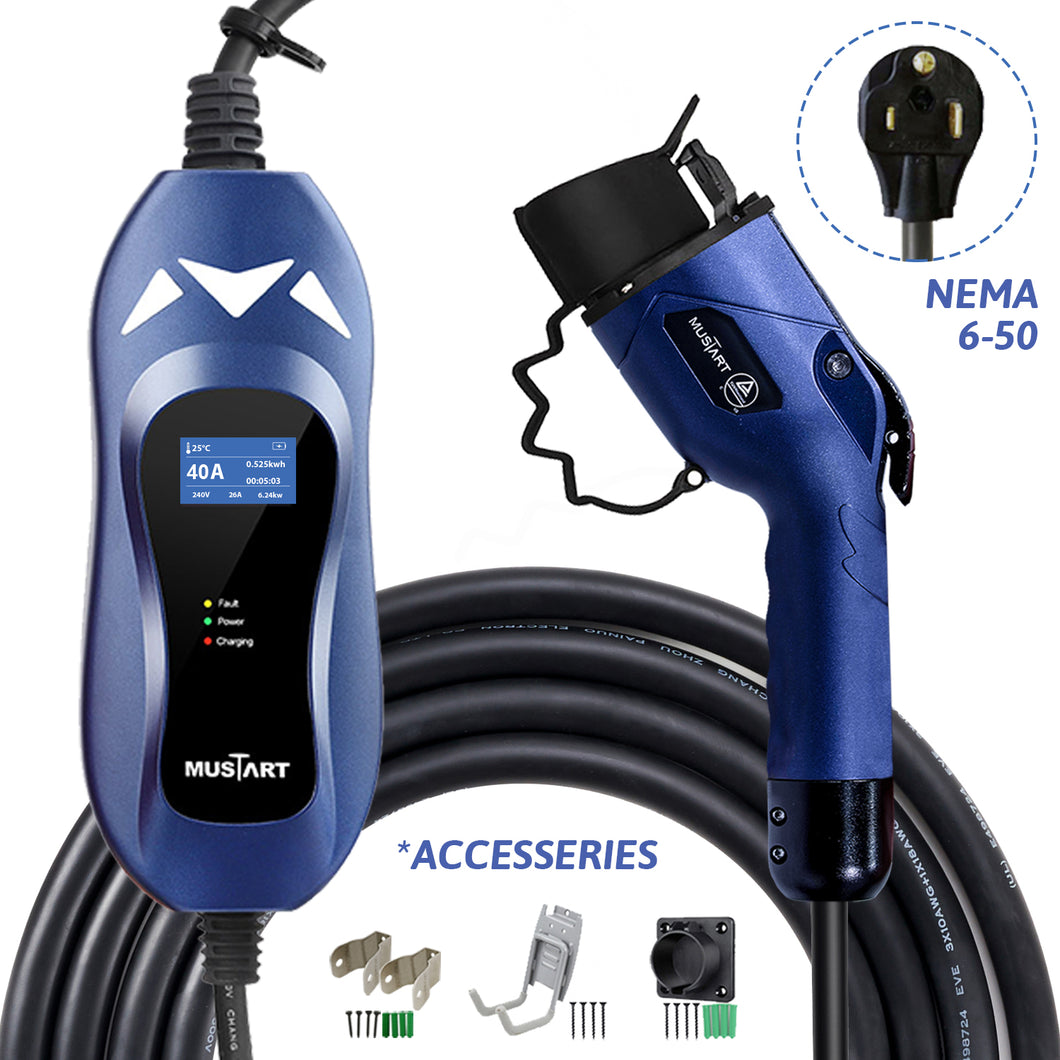 MUSTART - Level 2 EV Charger | 40A | NEMA 6-50 | 240V | 9.6KW | 25FT | Portable | Outdoor Use