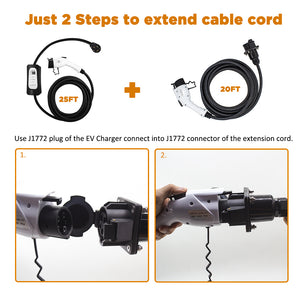 MUSTART 32 Amp 20 Ft J1772 Extension Cord for EV Charging Stations