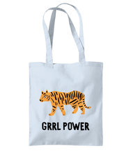 Load image into Gallery viewer, Blue Grrl Power Tiger Girl Power Tote bag