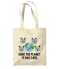 Load image into Gallery viewer, Save the Planet, It has Cats tote bags
