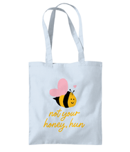 Load image into Gallery viewer, Not your Honey Hun tote bag blue