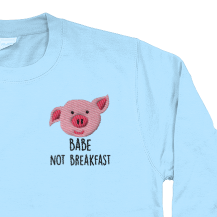 Babe not breakfast embroidered jumper