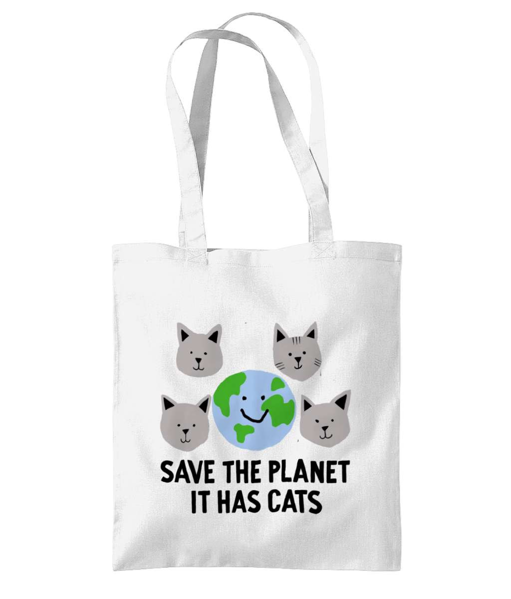 Save the Planet, It has Cats tote bags