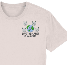 Load image into Gallery viewer, Save the Planet, It has Cats Embroidered T-shirt