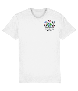 Save the Planet it is the only one with Dogs Embroidered T-shirt