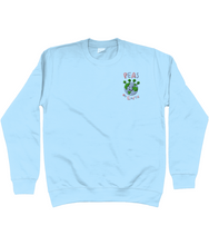Load image into Gallery viewer, Peas on Earth Embroidered Blue Jumper