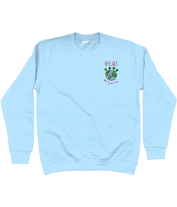 Peas on Earth Embroidered Blue Jumper