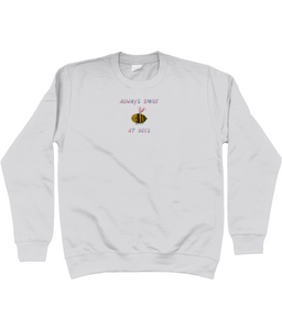Always smile at bees embroidered jumper