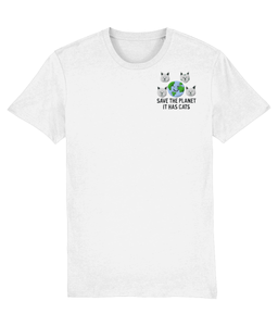 Save the Planet, It has Cats Embroidered T-shirt