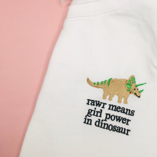 Rawr means girl power in dinosaur Jumper