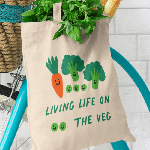 Living Life on the Veg Tote Bag Cotton Tea Please