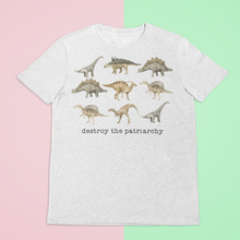 Load image into Gallery viewer, Destroy the Patriarchy Dinosaur UK Tshirt