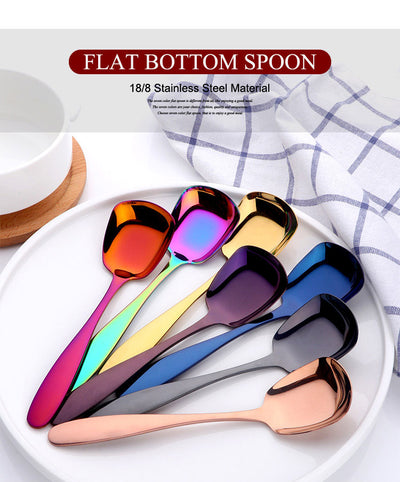Square Rice Spoon S M  L Tablespoon Rainbow Flatware for meals