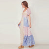 Square Neck Patchwork Floral Summer Dress