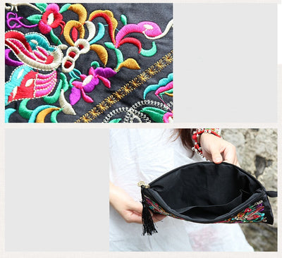 Floral Embroidered Vintage Dressing  Lady Day Clutch Handbag