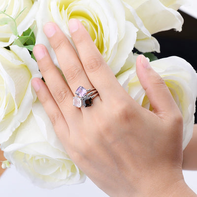 Natural Amethyst Rose Smoky Quartz Jewelry Solid 925 Sterling Silver Women Rings