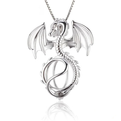 Sterling Silver 925 Dragon Charms Cage Pendant Jewelry for Women