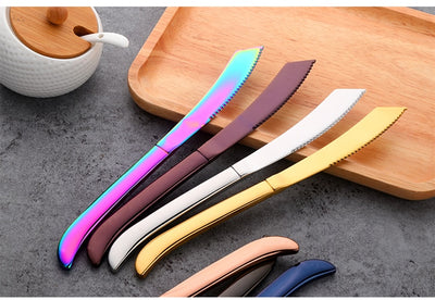 4 Pcs/lot for High-grade Stainless Steel Steak Knives Rainbow Flatware
