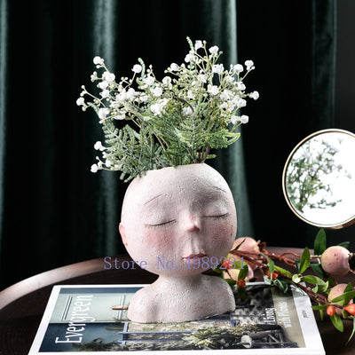 Nordic Creative Resin Human Head Art Flower Vase
