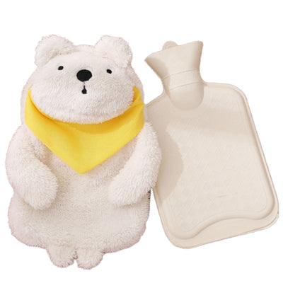 Plush Fabric White Cute Bear Cover Rubber Hot Water Bag