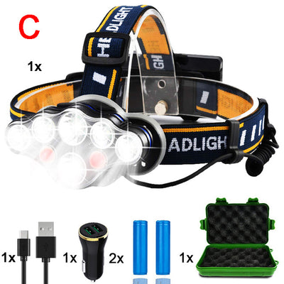 8 Modes Headlamp USB Rechargeable LED Headlight