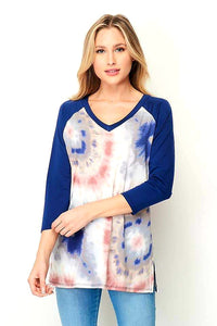 Tie Dye with Navy Sleeves top