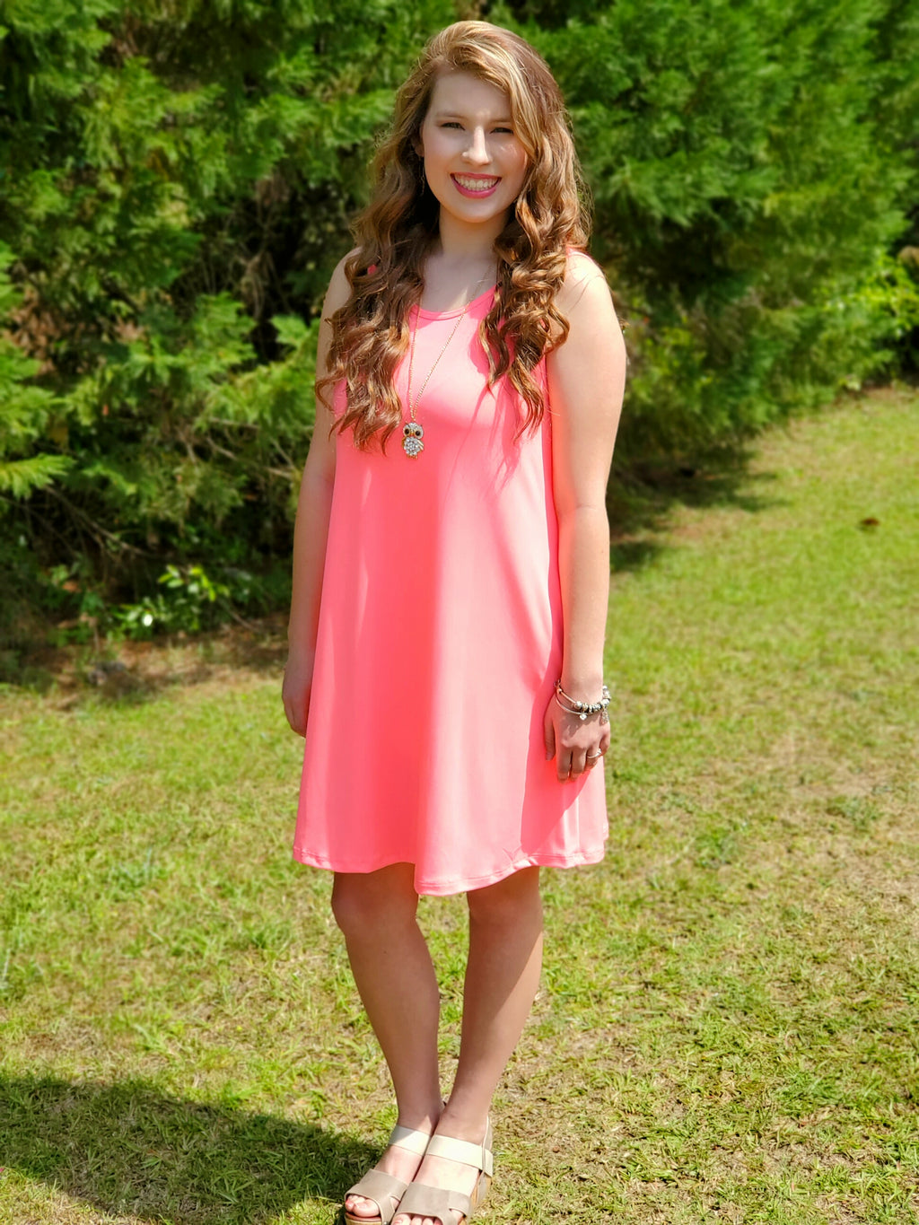 Pink Solid sleeveless dress