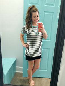 Striped top with color trim