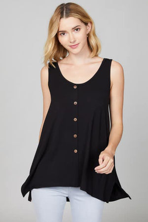 Solid flowy tank with faux buttons