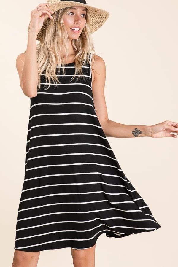 Black and white stripes swing dress